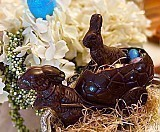 Gourmet Dark Chocolate Basket Bunny