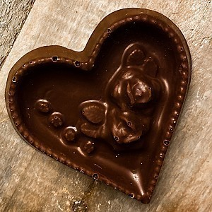 Dark Chocolate Rose Heart