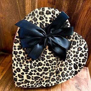 1lb Fancy Leopard Heart Box Filled