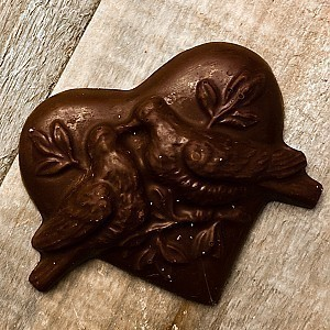 Dark Chocolate Love Birds Heart