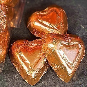 Mini Dark Chocolate Bronze Hearts